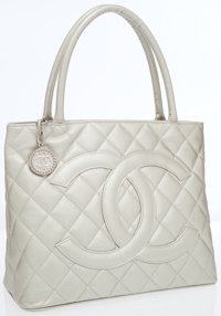 Chanel Metallic Caviar Leather Medallion Tote Bag with Hammered Silver Hardware