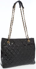 Luxury Accessories:Accessories, Chanel Black Quilted Patent Leather Tote. ...