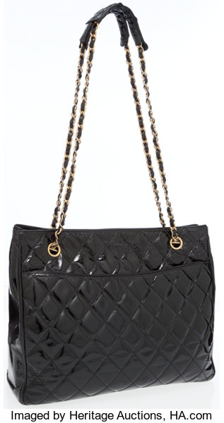 ba87b601aa Luxury Accessories:Accessories, Chanel Black Quilted Patent Leather Tote.