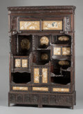 Asian:Japanese, A JAPANESE MEIJI PERIOD GOLD LACQUER AND IVORY CABINET. Late19th/early 20th century. 75-1/4 x 48 x 12-1/2 inches (191.1 x 1...