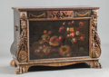Furniture : Continental, A SPANISH PAINTED LEATHER COVERED CHEST. 17th century. 42-1/2 x 56-1/2 x 26 inches (108.0 x 143.5 x 66.0 cm). ...
