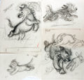 Books:Children's Books, Garth Montgomery Williams (1912-1996), illustrator. Lot of FourPreliminary Pencil Sketches for Mister Dog. Vari...