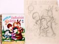 Books:Children's Books, Garth Montgomery Williams (1912-1996), illustrator. Preliminary Cover Design Pencil Sketch for The Friendly Book....