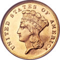 Three Dollar Gold Pieces, 1868 $3 MS67 Prooflike NGC....