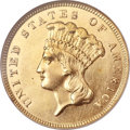 Three Dollar Gold Pieces, 1860-S $3 MS61 NGC....