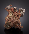 Minerals:Miniature, NATIVE SILVER on NATIVE COPPER. Keweenaw Peninsula,Michigan. ...