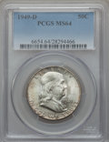 Franklin Half Dollars: , 1949-D 50C MS64 PCGS. PCGS Population (537/53). NGC Census:(617/110). Mintage: 4,120,600. Numismedia Wsl. Price for proble...