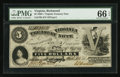 Obsoletes By State:Virginia, Richmond, VA- The Commonwealth of Virginia $5 Oct. 15, 1861 Cr. 5. ...