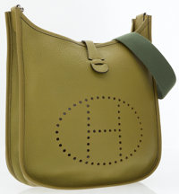 Hermes Vert Chartreuse Clemence Leather Evelyne II Crossbody Bag