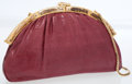 Luxury Accessories:Accessories, Judith Leiber Burgundy Lizard Clutch Bag with Gold Hardware. ...
