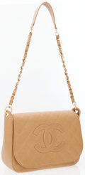 Luxury Accessories:Bags, Chanel Camel Caviar Leather Shoulder Bag with Large CC Detail. ...