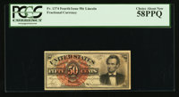 Fr. 1374 50¢ Fourth Issue Lincoln PCGS Choice About New 58PPQ