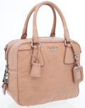Luxury Accessories:Accessories, Prada Peach Leather Bowling Bag with Shoulder Strap . ...