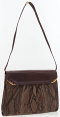 Luxury Accessories:Accessories, Gucci Snakeskin and Brown Leather Shoulder Bag. ...