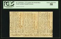 North Carolina December, 1771 Uncut Sheet Of Three PCGS Choice About New 58