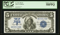 Fr. 281 $5 1899 Silver Certificate PCGS Choice About New 58PPQ