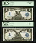 Large Size:Silver Certificates, Two Consecutive Fr. 236 $1 1899 Silver Certificates PCGS Choice About New 55-Choice About New 58.. ... (Total: 2 notes)