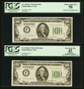 Fr. 2152-F/Fr. 2153-F $100 1934/1934A Federal Reserve Notes. Changeover Pair. PCGS Choice About New 58/Apparent Extremel...