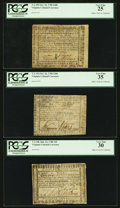 Colonial Notes:Virginia, Three Nice Virginia 1780 Notes All Graded Very Fine By PCGS. . ... (Total: 3 notes)