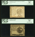 Colonial Notes:Continental Congress Issues, Continental Currency Counterfeit Detector and Counterfeit Both PCGS Choice New 63.. ... (Total: 2 notes)