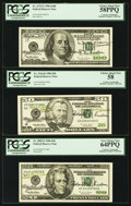 Small Size:Federal Reserve Notes, Fr. 2083-E $20 1996 Federal Reserve Note. PCGS Very Choice New64PPQ.. Fr. 2126-B $50 1996 Federal Reserve Note. PCGS Choi...(Total: 3 notes)