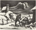 Fine Art - Work on Paper:Print, THOMAS HART BENTON (American, 1889-1975). The Wood Pile (WoodCutter), 1939. Lithograph on paper. 9-1/4 x 11-1/8 inches ...