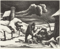 THOMAS HART BENTON (American, 1889-1975) The Wood Pile (Wood Cutter), 1939 Lithograph on paper 9-
