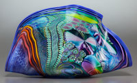 A JAMES NOWAK GLASS CLAMSHELL-FORM SCULPTURE 20th century Marks: NOWAK F2I6 13 x 23 x 10 inches (