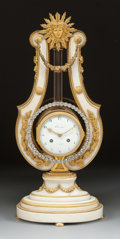 Paintings, A LOUIS XVI-STYLE MARBLE AND GILT BRONZE MOUNTED LYRE-FORM CLOCK. 19th century. Marks: CROSNIER, A. PARIS. 26 x 11-1/2 x...