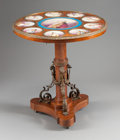 Furniture : English, A NAPOLEON III TABLE WITH INSET PORCELAIN PLAQUES. 19th century. 31-1/4 inches high x 29 inches diameter (79.4 x 73.7 cm). ...