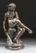 Paintings, A PATINATED BRONZE SEATED FIGURE AFTER THE ANTIQUE: MERCURY. Late 19th century. Marks: MARIUS MONTAGUE. 34-1/2 i...