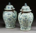 Paintings, A PAIR OF CHINESE BLUE AND WHITE PORCELAIN TEA JARS WITH IRON MOUNTS. 19th century. 27-1/2 inches high x 15 inches diameter ... (Total: 2 Items)