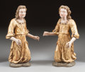 Decorative Arts, Continental, A PAIR OF EARLY RENAISSANCE-STYLE ITALIAN POLYCHROMED CARVED WOODKNEELING ANGELS. 17th century. 26 x 9 x 11 inches (66.0 x ...(Total: 2 Items)