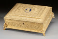 Decorative Arts, French, A CHARLES X GILT METAL AND ENAMELED TABLE BOX. Circa 1800. 4-1/2 x12 x 9-1/2 inches (11.4 x 30.5 x 24.1 cm). ...