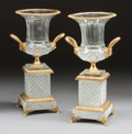 Paintings, A PAIR OF FRENCH BACCARAT-TYPE CUT-GLASS AND GILT BRONZE MOUNTED URNS ON BASES, 20th century. 20-1/2 x 7-1/2 x 7-1/2 inches ... (Total: 2 Items)
