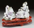 Asian:Chinese, TWO CHINESE LAVENDER JADEITE FIGURES OF DUCKS AND FLOWERS ON A WOODBASE. 20th century. 8-1/4 x 8-1/4 x 6 inches (21.0 x 21.... (Total:2 Items)