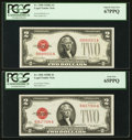 Small Size:Legal Tender Notes, Fr. 1506 $2 1928E Legal Tender Note. PCGS Gem New 65PPQ.. Fr. 1508 $2 1928G Legal Tender Note. PCGS Superb Gem New 67PPQ.... (Total: 2 notes)