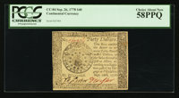 Continental Currency September 26, 1778 $40 PCGS Choice About New 58PPQ