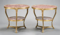 Furniture : French, A PAIR OF LOUIS XV-STYLE GILT BRONZE MARBLE INSET TABLES. 20th century. 28-1/2 inches high x 31 inches diameter (72.4 x 78.7... (Total: 2 Items)