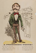 "Art:Comic Art - Illustrations, [Cartoon]. ""A Promising Youth!"" One page, 9.75"" x 14.25"",circa 1860s. A mustachioed man is seen in this hand-co..."