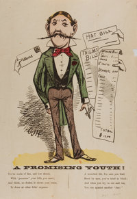 """[Cartoon]. """"A Promising Youth!"""" One page, 9.75"""" x 14.25"""", circa 1860s. A mustachioed"""