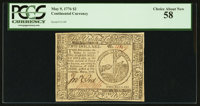 Continental Currency May 9, 1776 $2 PCGS Choice About New 58