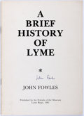 Books:Art & Architecture, John Fowles. SIGNED. A Brief History of Lyme. Friends of the Lyme Regis Museum, 1981. Signed by the author on the ...