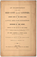 Books:Americana & American History, [Fugitive Slave Act]. Samuel A. Foot. An Examination of the Caseof Dred Scott Against Sandford, in the Supreme Court of...