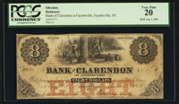 Fayetteville, NC- Bank of Clarendon at Fayetteville $8 Aug. 1, 1855 G6a