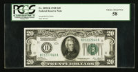 Fr. 2050-K $20 1928 Federal Reserve Note. PCGS Choice About New 58