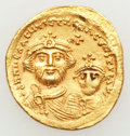 Ancients:Byzantine, Ancients: Heraclius, with Heraclius Constantine (AD 610-641). AVsolidus (4.50 gm)....