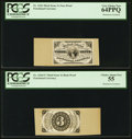 Fractional Currency:Third Issue, Three Cent Third Issue Proof Pair PCGS Very Choice New 64PPQ andChoice About New PCGS 55.. ... (Total: 2 notes)