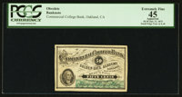 Oakland, CA- The Commercial College Bank of Golden Gate Academy 50¢ July 31, 1875 Schingoethe CA-175-.50