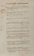 "Books:Americana & American History, [Americana] Early 19th Century Commonwealth of MassachusettsDocument. One page, 8"" x 13"", partially printed the remainder c..."